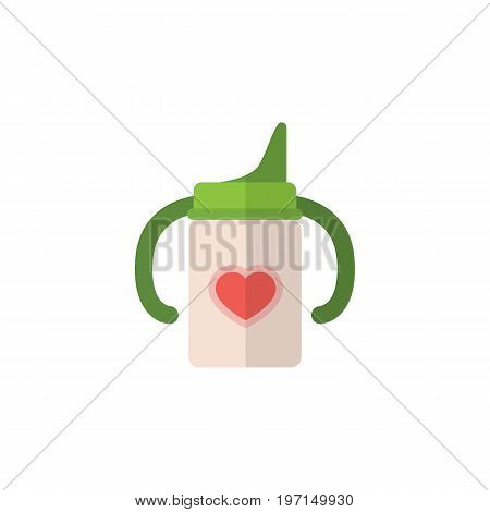 Nursing Bottle Vector Element Can Be Used For Nursing, Baby, Bottle Design Concept.  Isolated Infant Nutrition Flat Icon.