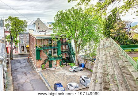 Quebec City, Canada - May 30, 2017: Aerial View Of Old Town Residential Buildings And Street From Pa
