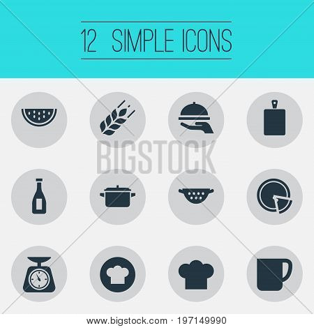 Elements Chopping Wood, Cup, Chief Cook And Other Synonyms Cutting, Grain And Weighing.  Vector Illustration Set Of Simple Preparation Icons.