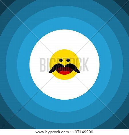 Cheerful Vector Element Can Be Used For Cheerful, Whiskers, Emoji Design Concept.  Isolated Whiskers Flat Icon.