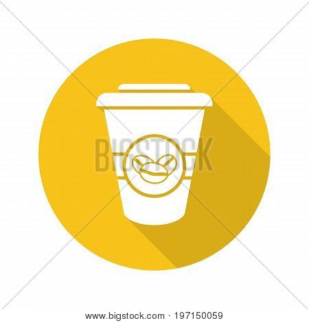 Takeaway coffee cup. Flat design long shadow glyph icon. Coffee to go. Vector silhouette illustration