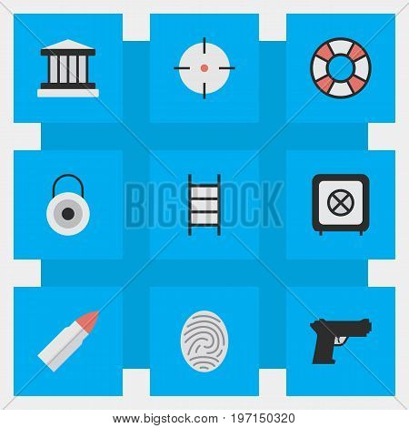 Elements Vault, Target, Shot And Other Synonyms Vault, Weapon And Climbing.  Vector Illustration Set Of Simple Offense Icons.