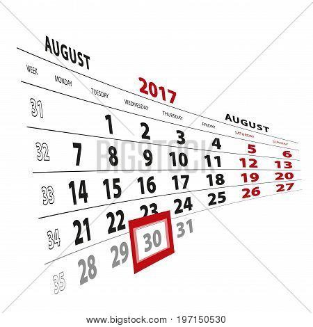 30 August Highlighted On Calendar 2017. Week Starts From Monday.