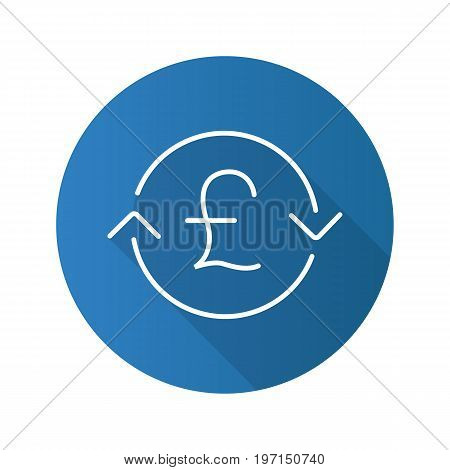 Great Britain pound exchange. Flat linear long shadow icon. Refund. Vector outline symbol