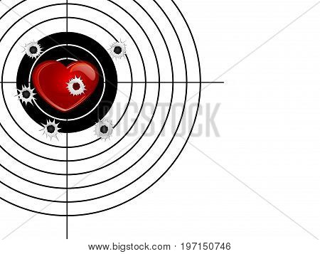 Red heartr and target isolated on white background