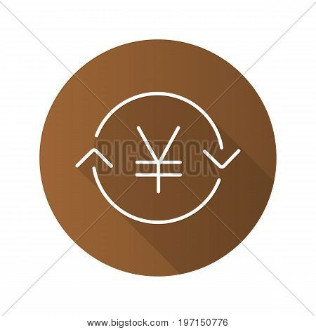 Japanese and China yen exchange. Flat linear long shadow icon. Refund. Vector outline symbol