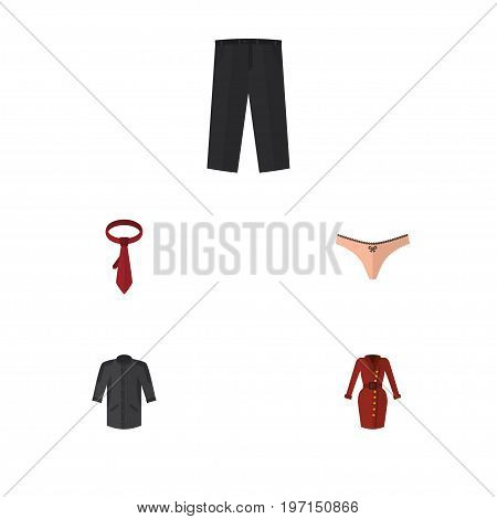 Flat Icon Clothes Set Of Lingerie, Pants, Cravat And Other Vector Objects