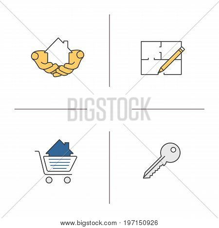 Real estate market color icons set. House in hands, floor plan, key, shopping cart with building inside. Isolated vector illustrations
