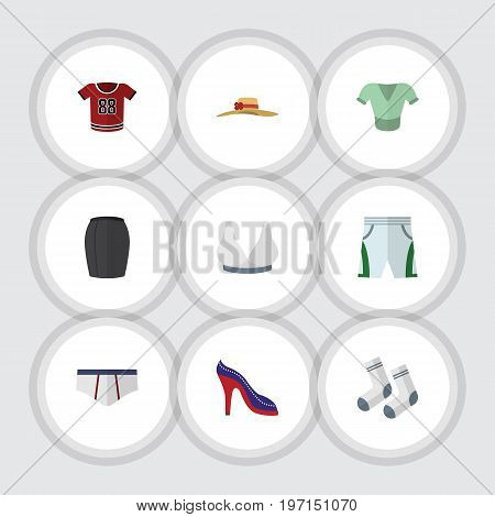 Flat Icon Dress Set Of Trunks Cloth, Casual, Heeled Shoe And Other Vector Objects