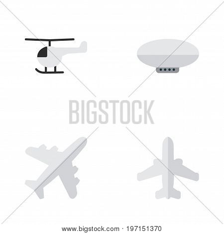 Elements Airliner, Balloons, Aircraft And Other Synonyms Airship, Airplane And Airliner.  Vector Illustration Set Of Simple Plane Icons.