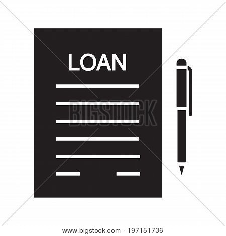 Loan agreement glyph icon. Contract silhouette symbol. Mortgage document with pen. Negative space. Vector isolated illustration