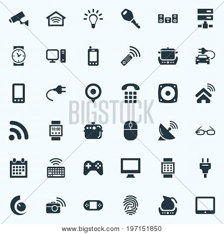 Elements Smart House, Clock, Videogame And Other Synonyms Joystick, Home And Glasses.  Vector Illustration Set Of Simple Internet Icons.