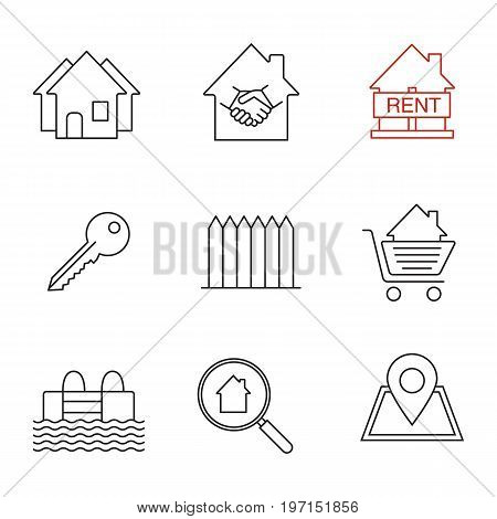 Real estate market linear icons set. Neighborhood, house for rent, key, fence, swimming pool, building location, real estate deal. Thin line contour symbols. Isolated vector outline illustrations