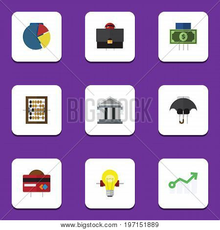 Flat Icon Gain Set Of Payment, Bank, Graph And Other Vector Objects
