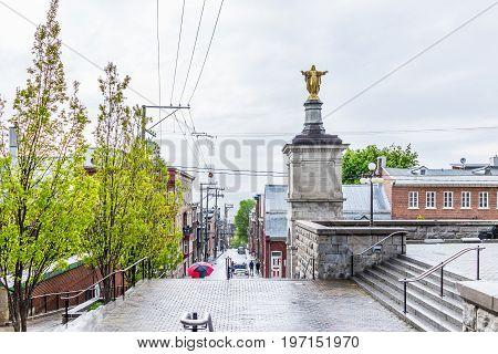 Quebec City, Canada - May 30, 2017: Saint Jean Baptiste Limoilou Area With Park By Sanctus Joannes B