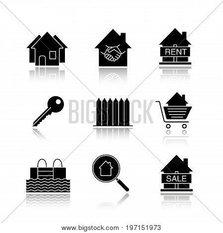 Real estate market drop shadow black glyph icons set. Neighborhood, houses for sale and rent, key, fence, swimming pool, real estate deal. Isolated vector illustrations