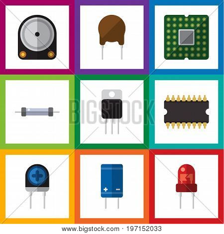 Flat Icon Appliance Set Of Hdd, Recipient, Resistor And Other Vector Objects