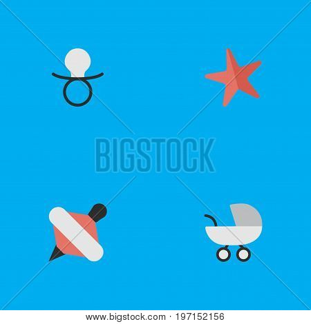 Elements Nipple, Stroller, Toy And Other Synonyms Baby, Stroller And Pacifier.  Vector Illustration Set Of Simple Kid Icons.
