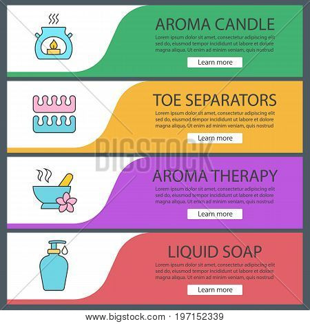 Spa salon web banner templates set. Aromatherapy candle, toe separators, mortar and pestle, liquid soap. Website color menu items. Vector headers design concepts