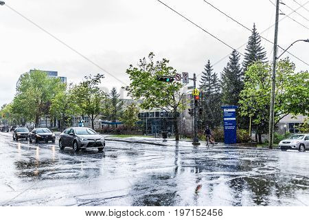 Quebec City, Canada - May 30, 2017: Saint Jean Baptiste Limoilou Area With Traffic Intersection, Car