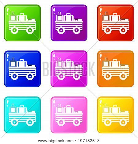 Service cart with luggage icons of 9 color set isolated vector illustration