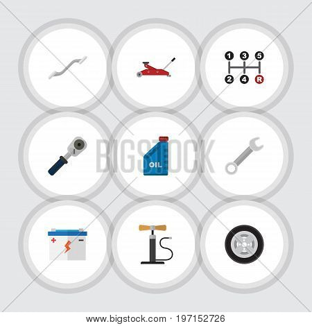 Flat Icon Service Set Of Tire, Wheel Pump, Accumulator And Other Vector Objects