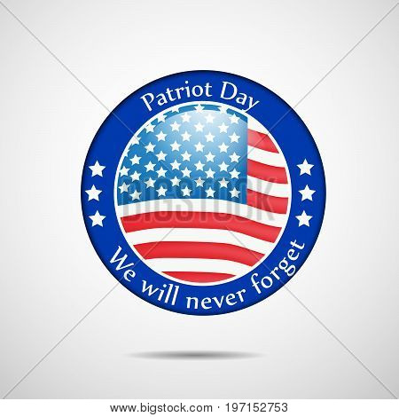 illustration of stamp in USA flag background with Patriot Day we will never forget text on the occasion of Patriot Day