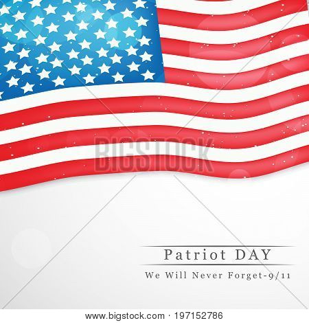 illustration of USA flag background with Patriot Day we will never forget text on the occasion of Patriot Day