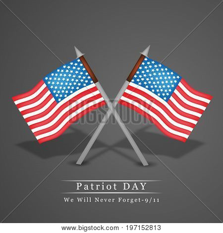 illustration of USA flag with Patriot Day we will never forget text on the occasion of Patriot Day