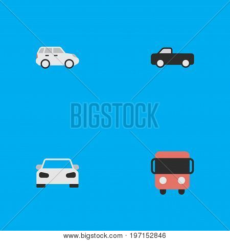 Elements Truck, Suv, Autobus And Other Synonyms Truck, Pickup And Sport.  Vector Illustration Set Of Simple Traffic Icons.
