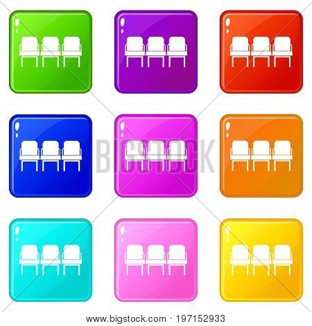 Chairs in the departure hall at airport icons of 9 color set isolated vector illustration