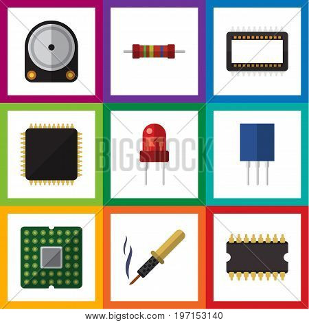 Flat Icon Technology Set Of Recipient, Cpu, Resistance And Other Vector Objects