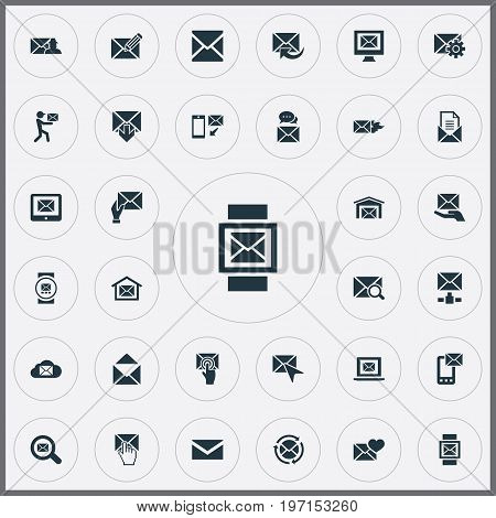 Elements Look For, Sent, Postal Box And Other Synonyms Open, Update And Hot.  Vector Illustration Set Of Simple Communication Icons.