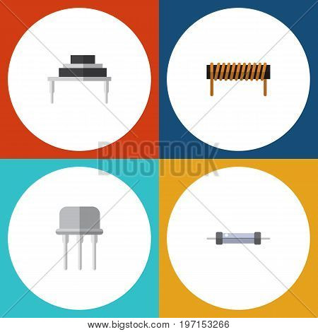 Flat Icon Electronics Set Of Resistor, Bobbin, Resist And Other Vector Objects