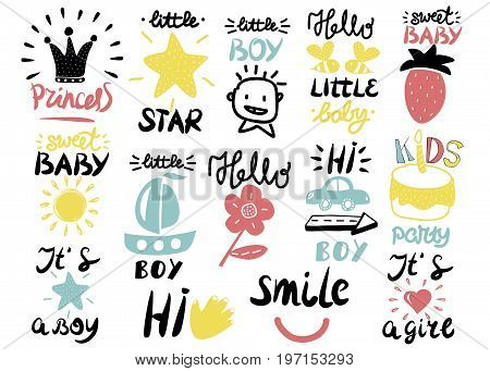 14 children s logo with handwriting Little boy, It s a girl, Hi, Princess, Smile, Sweet baby, Hello, Star. Kids background. Poster Emblem