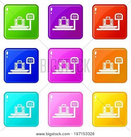 Luggage weighing icons of 9 color set isolated vector illustration