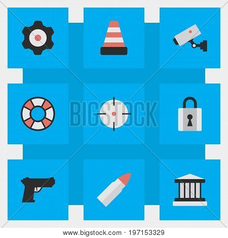 Elements Shot, Weapon, Grille And Other Synonyms Court, Mechanical And Cone.  Vector Illustration Set Of Simple Crime Icons.
