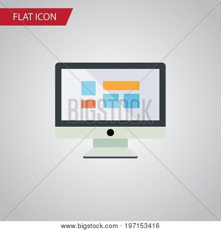 Display Vector Element Can Be Used For Monitor, Display, Screen Design Concept.  Isolated Monitor Flat Icon.
