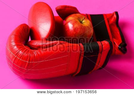 Sport Equipment And Fruit On Pink Background. Knock Out