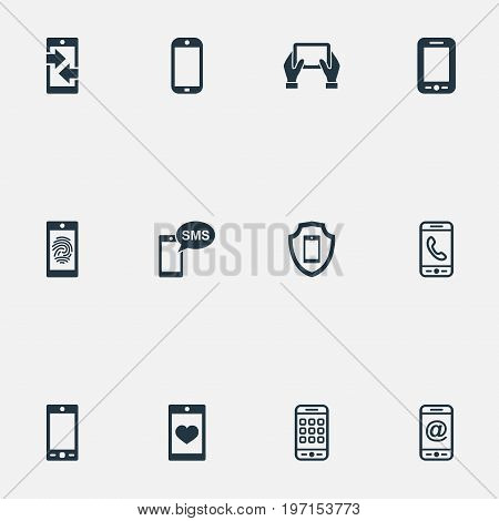 Elements Menu, Thumbprint, Outgoing Calls And Other Synonyms Communicator, Communicating And Menu.  Vector Illustration Set Of Simple Smartphone Icons.