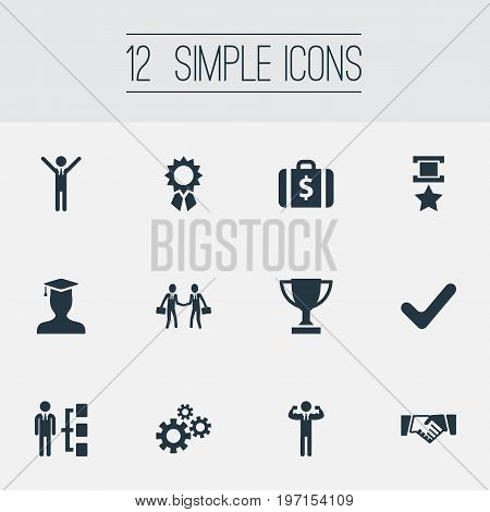 Elements Winner, Handshaking Partners, Gears Synonyms Business, Hero And Ribbon.  Vector Illustration Set Of Simple Success Icons.