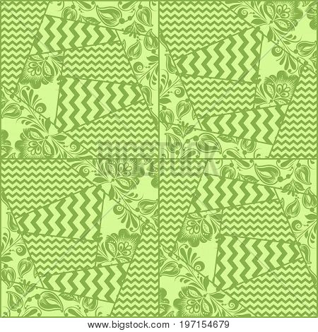 Greenery chevron, russian floral seamless pattern texture, illustration. Spring 2017 khokhloma style