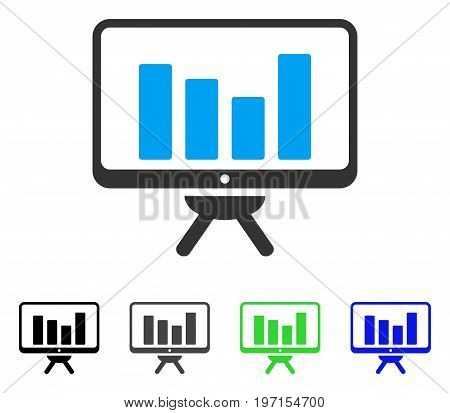 Bar Chart Monitoring flat vector icon. Colored bar chart monitoring gray black blue green icon versions. Flat icon style for application design.