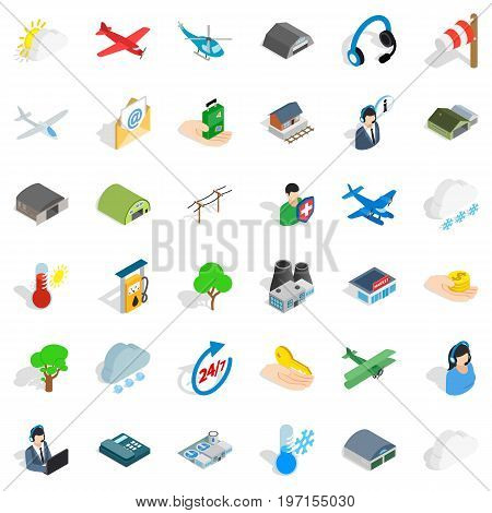 Plane terminal icons set. Isometric style of 36 plane terminal vector icons for web isolated on white background