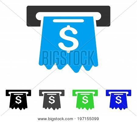 Cash Machine flat vector pictogram. Colored cash machine gray black blue green icon versions. Flat icon style for web design.