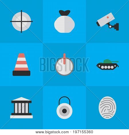 Elements Grille, Isolated, Safe And Other Synonyms Key, Lock And Goal.  Vector Illustration Set Of Simple Criminal Icons.