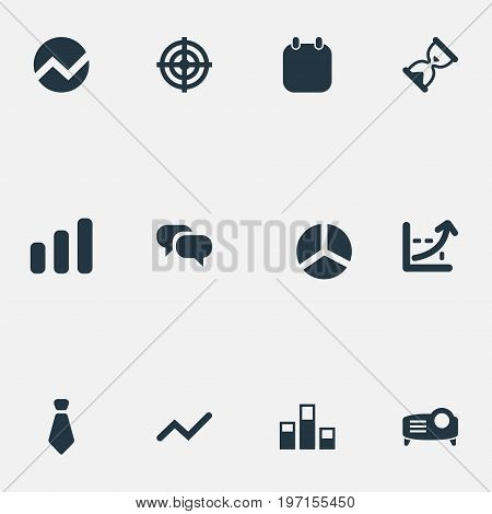 Elements Conversation, Segment, Goal And Other Synonyms Aim, Calendar And Economics.  Vector Illustration Set Of Simple Presentation Icons.