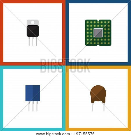 Flat Icon Appliance Set Of Receptacle, Receiver, Unit And Other Vector Objects