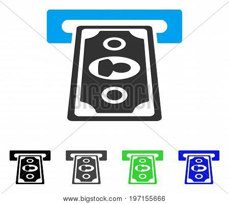 Payment Terminal flat vector pictogram. Colored payment terminal gray, black, blue, green pictogram variants. Flat icon style for application design.