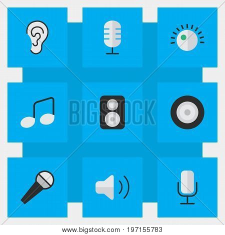 Elements Music Sign, Microphone, Loudness And Other Synonyms Mike, Loudspeakers And Sign.  Vector Illustration Set Of Simple  Icons.